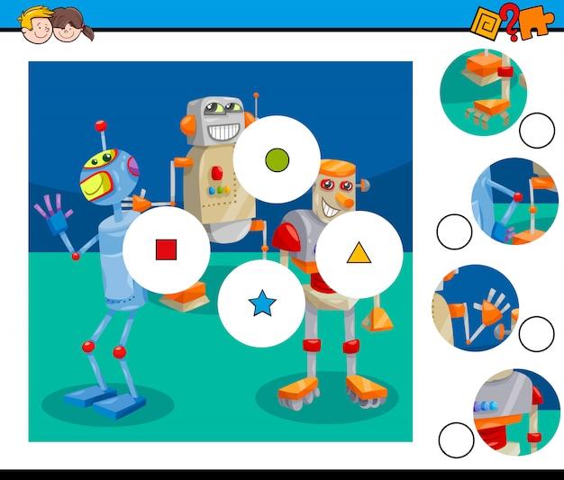 Educacional combine as peças jogo de puzzle com robôs