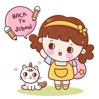 Educador de volta à escola doodle linda garota e gato unicórnio dos desenhos animados