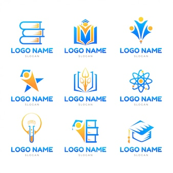 Education iconic logo set template