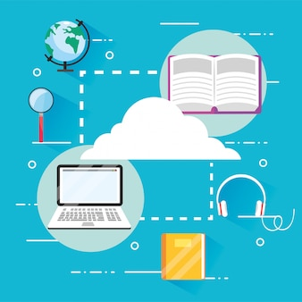 Eearining education books with laptop technology