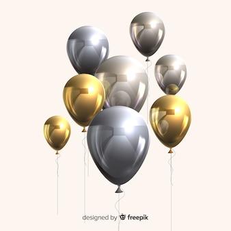 Efeito 3d de balões metálicos e dourados brilhantes