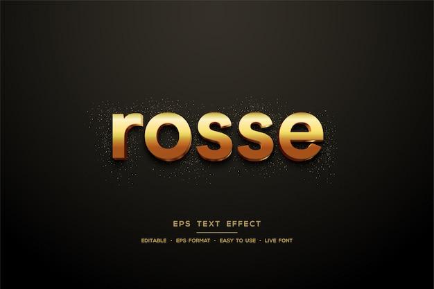 Efeito 3d de estilo de texto dourado em preto