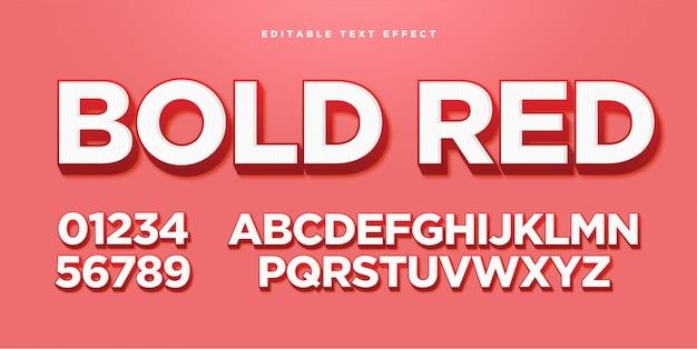 Efeito 3d de estilo de texto em negrito vermelho