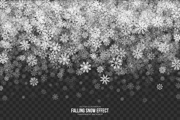 Efeito 3d de neve caindo transparente
