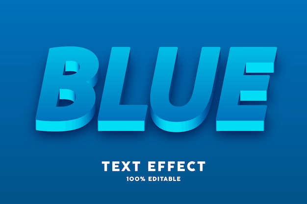 Efeito 3d realista de texto azul fresco