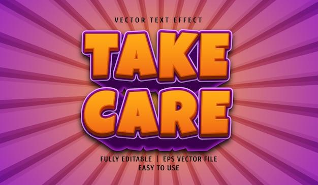 Efeito 3d take care text, estilo de texto editável