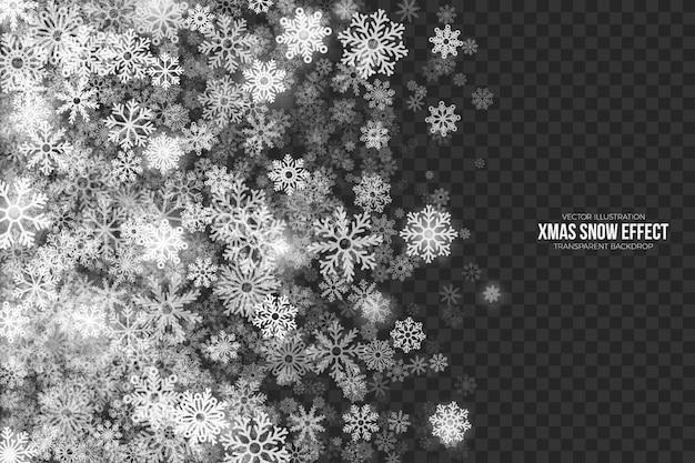 Efeito 3d transparente de neve de natal