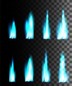 Efeito abstrato de fogo azul em fundo transparente.