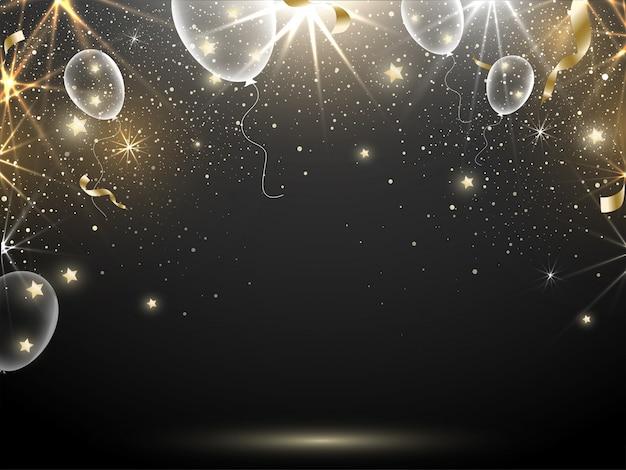 Efeito abstrato iluminação preto fundo decorado com balões brilhantes, estrelas e fita de confete dourado.