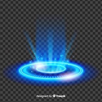 Efeito abstrato portal de luz azul