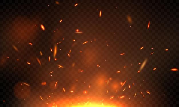 Efeito ardente vermelho faíscas chamas de fogo realista abstraem base