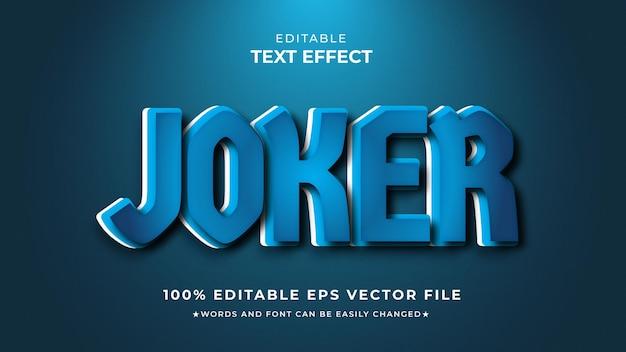 Efeito azul editável de estilo de texto joker