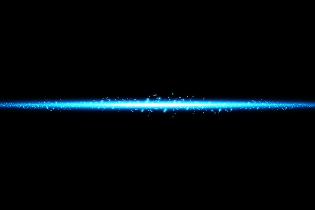Efeito azul isolado de brilho, reflexo de lente, explosão, brilho, linha, flash de sol, faísca e estrelas.