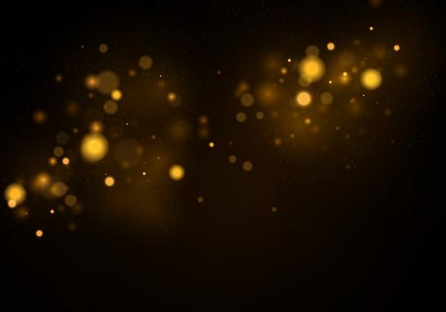Efeito bokeh. brilho de textura. partículas de pó amarelo ouro espumantes mágicas.