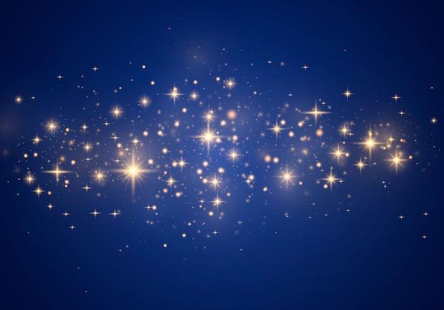 Efeito bokeh de luzes luminosas. partículas de poeira mágica cintilantes.