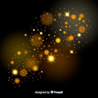 Efeito bokeh de partículas flutuantes de ouro