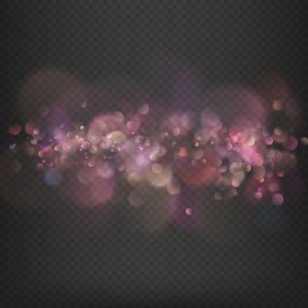 Efeito bokeh desfocado luzes festivas.