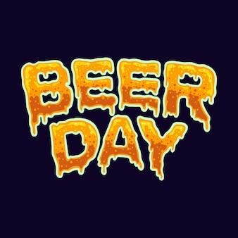 Efeito da fonte da tipografia do dia da cerveja ilustrações vetoriais para o seu trabalho logotipo, camiseta da mercadoria do mascote, adesivos e designs de etiquetas, cartazes, cartões comemorativos anunciando empresas ou marcas.
