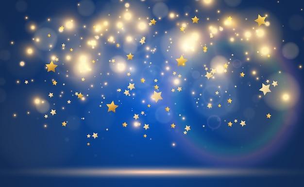 Efeito da luz das estrelas brilhante isolado no azul