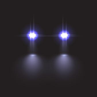 Efeito da luz do carro em fundo escuro.