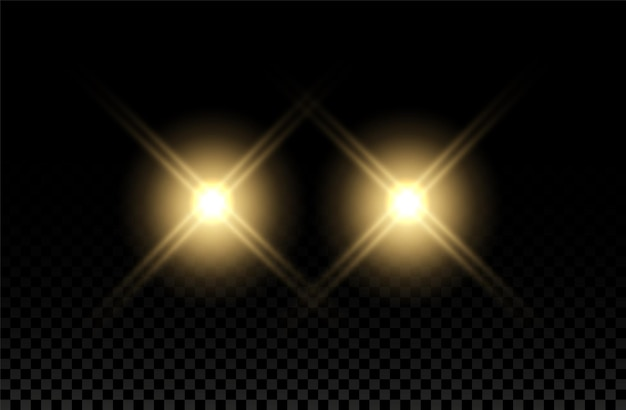 Efeito da luz do carro farol flare feixe redondo trem amarelo flash auto realista