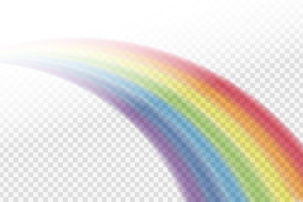 Efeito de arco-íris realista em diferentes formas no fundo transparente.