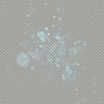 Efeito de bokeh círculos sobre fundo transparente. elemento de brilho frio azul brilhante de natal que pode ser usado.
