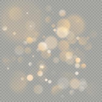 Efeito de bokeh círculos sobre fundo transparente. elemento de brilho laranja quente brilhante de natal que pode ser usado.