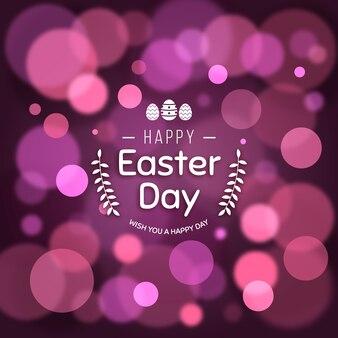 Efeito de bokeh violeta feliz dia da páscoa turva