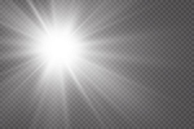 Efeito de brilho a estrela brilha em um fundo transparente ilustração vetorial o sol