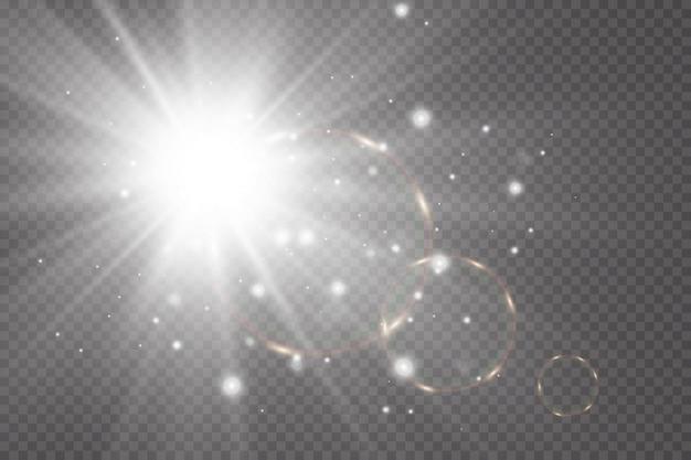 Efeito de brilho a estrela brilha em um fundo transparente. ilustração vetorial