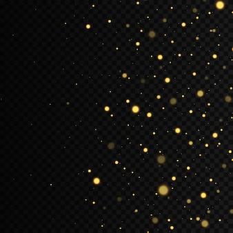 Efeito de brilho das partículas as faíscas de poeira e estrelas douradas brilham com luz especial