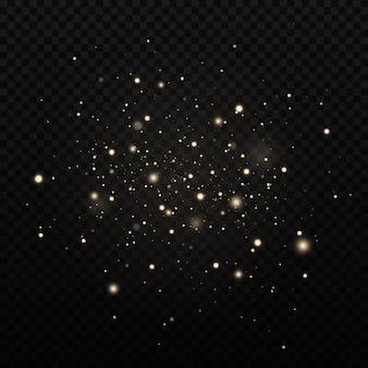 Efeito de brilho das partículas. as faíscas de poeira e estrelas douradas brilham com luz especial