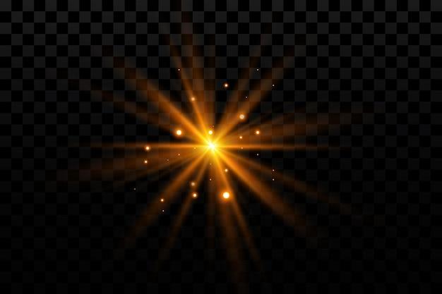 Efeito de brilho estrela dourada em transparente