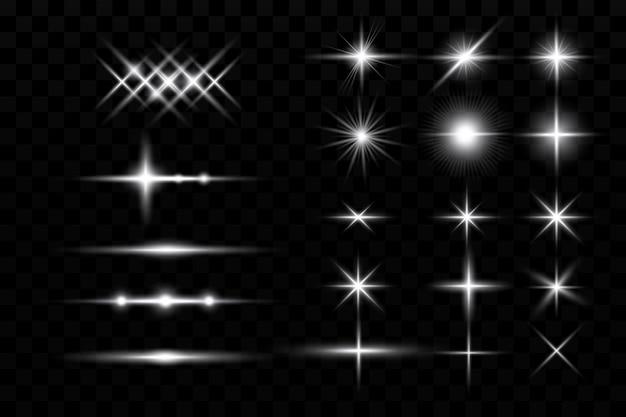 Efeito de brilho estrela em fundo transparente ilustração em vetor sol brilhante