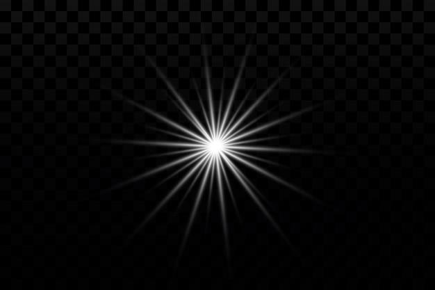 Efeito de brilho estrela no fundo transparente ilustração em vetor sol brilhante