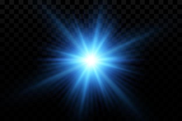 Efeito de brilho ilustração vetorial de estrelas de partículas brilhantes azuis