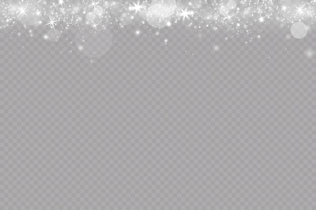 Efeito de brilho ilustração vetorial flash de poeira de natal a neve está caindo flocos de neve