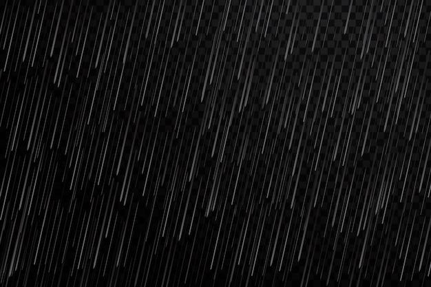 Efeito de chuva realista no fundo transparente.