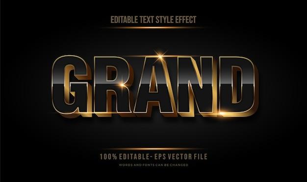 Efeito de contorno de ouro 3d. estilo de fonte editável