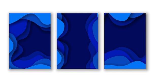 Efeito de corte de papel abstrato azul cartões de fundo