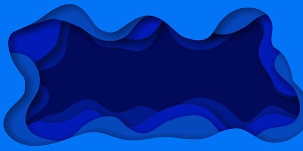 Efeito de corte de papel abstrato azul fundo banner horizontal