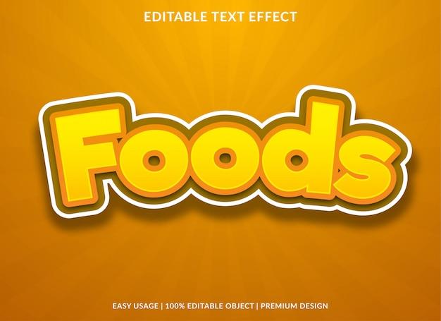 Efeito de efeito de texto de alimentos com estilo cartoon