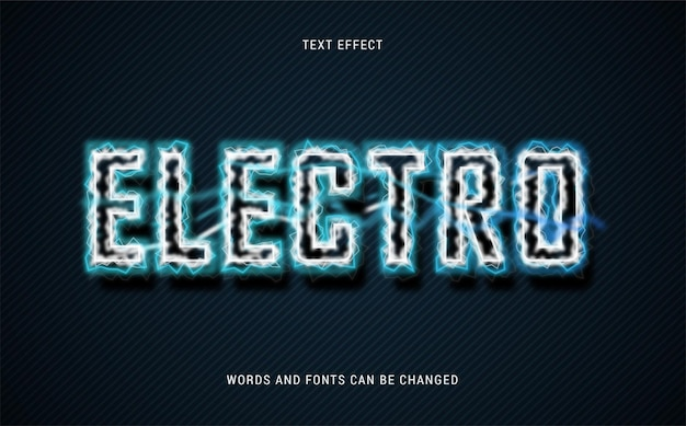 Efeito de eletro texto editável eps cc