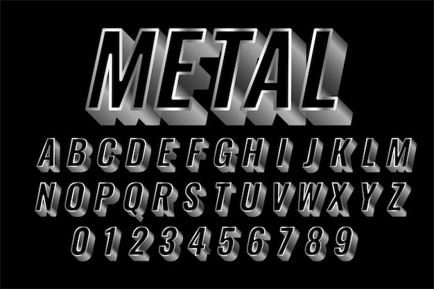 Efeito de estilo 3d de texto brilhante de aço ou prata