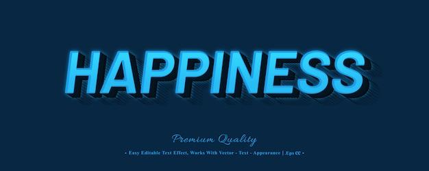 Efeito de estilo de fonte 3d de felicidade