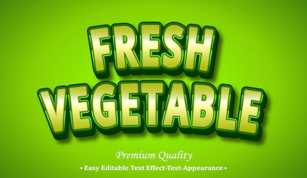 Efeito de estilo de fonte 3d de vegetais frescos