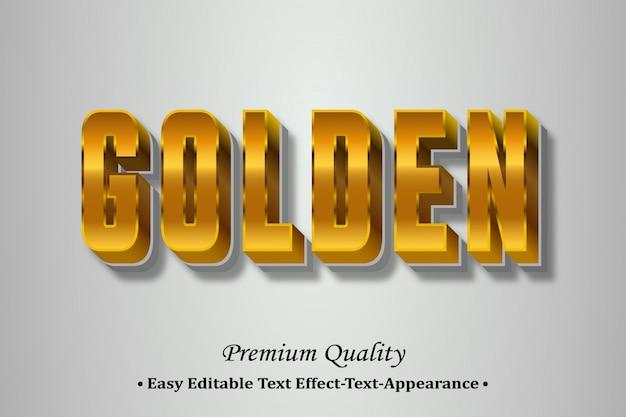 Efeito de estilo de fonte 3d dourado