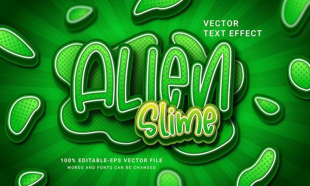 Efeito de estilo de texto 3d alien slime green