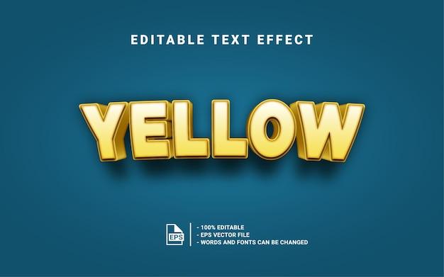 Efeito de estilo de texto 3d amarelo Vetor Premium